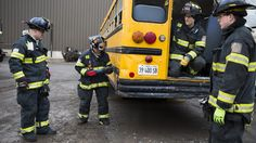 Firefighters practice heavy rescue-extraction drills