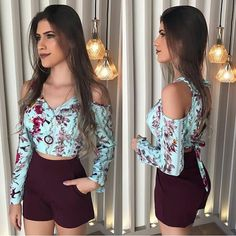 Healthy living tips wellness programs for women Summer Outfits, Cute Outfits, Womens Fashion For Work, Look Chic, Floral Tops, Ideias Fashion, Plus Size, Fashion Outfits, Crop Tops