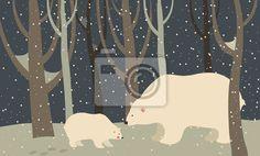 Niedźwiedź polarny i cub w lesie na obrazach Redro. Najlepszej jakości fototapety, naklejki, obrazy, plakaty, poduszki. Chcesz ozdobić swój dom? Tylko z Redro