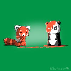 """This joke was a little off-color. Pre-order """"Not Amused"""" now for just $12 for the next 48 hours only: http://www.teeturtle.com/products/not-amused #kawaii #panda #redpanda"""
