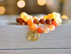 TANGERINE AGATE Peace Sign Charm Bead Bracelet by MOONDROPSjewelry, $35.00