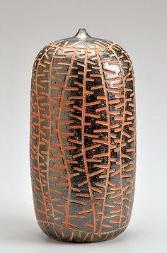 Sharpie - Orange: Boyan Moskov: Ceramic Vessel - Artful Home Ceramic Pots, Ceramic Clay, Ceramic Pottery, Pottery Art, Sgraffito, Sculptures Céramiques, Design Floral, Clay Vase, Ceramics Projects