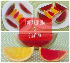 Receta de fruta rellena de gelatina fresquita para las vacaciones de verano, facilísima para hacer con niños y repasar medidas.