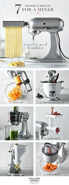 Not sure what to register for? Start with the essentials that are made to last, like the versatile KitchenAid mixer. It can do more than make cake: the time-saving attachments make prep work a breeze. Once you have one in your kitchen, you'll wonder what Kitchen Aid Recipes, Kitchen Hacks, Kitchen Gadgets, Kitchen Appliances, Bosch Appliances, Kitchen Items, Kitchen Dining, Kitchen Decor, Life Kitchen