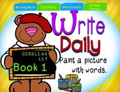 Watch your students improve their writing from simple sentences to more complex sentences with daily practice. No prep! Just print and go!Primary students need lots of writing practice to not only write complete sentences but also vary their wording. Write Daily Book 1 is the for the first 5 weeks of the beginning of the school year to challenge students to add vivid adjectives to describe nouns and use various pronouns.