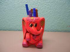 Vintage hot pink elephant vase or pencil by SouvenirAndSalvage