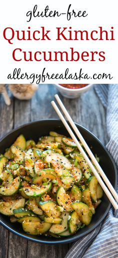 These Quick Kimchi Cucumbers will easily become one of your favorite healthy recipes. The combination of salty + spicy is addicting! No fish sauce = vegan Side Dish Recipes, Asian Recipes, Gourmet Recipes, Ethnic Recipes, Side Dishes, Free Recipes, Quick Kimchi, Cucumber Kimchi, Healthy Vegetable Recipes