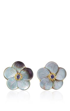 18 K Yellow Gold Ear Studs With Gray Mother Of Pearl Rose And Iolite by BAHINA…