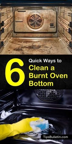 Find out how to clean a burnt oven bottom with a homemade treatment and DIY remedies. There are several common household products that you can use to clean your oven fast. Ingredients include white vinegar and baking soda. Oven Cleaning Hacks, Self Cleaning Ovens, Household Cleaning Tips, Homemade Cleaning Products, Cleaning Recipes, House Cleaning Tips, Deep Cleaning, Household Products, Cleaning Grease