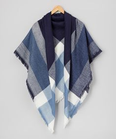 Take a look at this Blue  Plaid Frayed-Hem Blanket Scarf today!