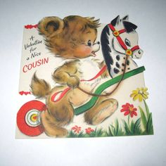 Vintage Childrens Valentine Greeting Card with Cute Bear or Dog and Horse or Pony Cart by Hallmark