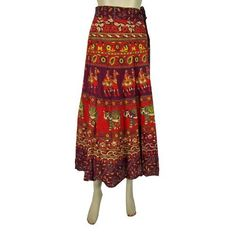 Amazon.com: Skirt for Women Mod Indie Red Green Elephant Print Wrap Around Skirts for Women: Clothing$24.99