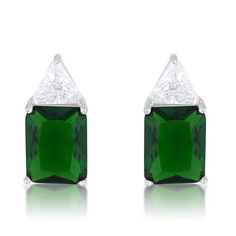 Classic Emerald Cubic Zirconia Sterling Silver Stud Earrings