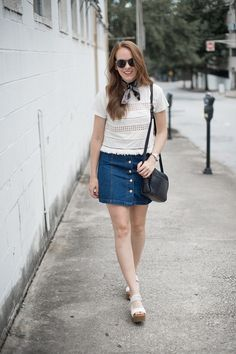 Denim button front skirt and fringe top | Summer outfit inspiration