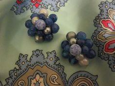 Vintage Clip Earrings Cobalt Blue Aqua & by SweetJennsVtgJewelry, $14.99