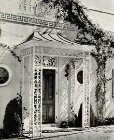 Half Pudding Half Sauce: Iron grilles lighten the portico; A pagoda hood over the entrance to the Charles E. F. McCann residence at Oyster B... Chicest entry I have ever seen! Copy it! So charming!!!