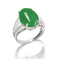 A jadeite and diamond ring, by Marsh,