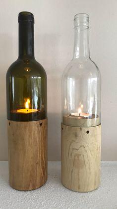 Windlicht / Teelicht aus trockenem, ausgewählten Robinenholz gedrechselt, Flasche recycelt, handgeschnitten in weiss oder grün, Holz einzeln auf Flasche angepaßt, 4 Luftlöcher sorgen für gute Luftzufuhr, Holz bei grünen Woodlights geölt – wirken rustikaler, Holz bei weissen Flaschen unbehandelt – wirken eleganter Bottle, Home Decor, Decorate Bottles, Turning, Rustic, Handmade, Decoration Home, Room Decor, Flask