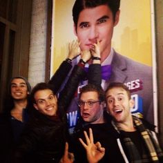 Starkids Joey Richter, Joe Walker, Dyaln Saunders, and Joe Moses go to see Darren on Broadway. Only your true friends would pose with your picture at your Broadway debut and pretend to pick your nose in the poster. :P