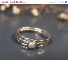 Valentine SALE - Freshwater pearl rings, sterling stack rings set of 3, hammered silver rings