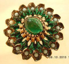 Eisenberg Fur Clip Brooch Pin Emerald Green by AURORAANTIQUES