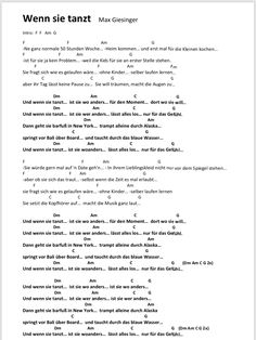 Wenn sie tanzt Songtext und Akkorde Music Chords, Ukulele Chords, Mask For Kids, Piano, Comedy, Lol, Learning, Create, Guitar Sheet Music