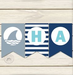 Shark Birthday Banner // Shark Pool Party // by papernoteandco
