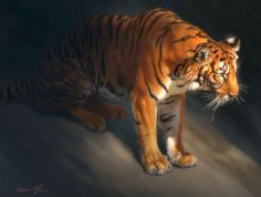 THE ART OF AARON BLAISE   torch tiger