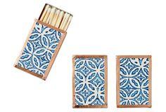 Petite Matchboxes, Lt. Blue/White