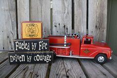 Firefighter  wood block set . . . Fueled by Fire, Driven by Courage - made for my Firefighter . . . .fireman firetuck gift personalized. $19.95, via Etsy.