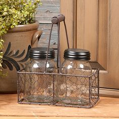 Wire Basket with Tall Glass Lidded Jars Country Front Porches, Arts And Crafts, Diy Crafts, Wire Baskets, Porch Decorating, Decorating Ideas, Jar Lids, Country Primitive, Country Decor