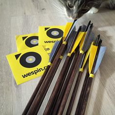 My first set of custom arrows. #WeSpin branded! #archery #nofilter #catsallaround