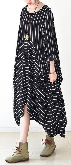 2017 the joyful river caftans plus size strip dresses baggy free shape stylish new – Plus Size Fashion Modest Fashion, Boho Fashion, Plus Size Dresses, Plus Size Outfits, Fashion 2017, Fashion Outfits, Hijab Stile, Mode Simple, Stripped Dress