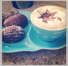 Maple madeleines and hot chocolate for afternoon tea. Yum!!