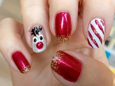 Christmas nails adapted from another pinner's post.