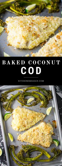 Crispy baked coconut cod breaded with shredded coconut and panko crumbs. Coconut Crusted Cod - A simple baked coconut crusted cod recipe made with coconut, panko crumbs, fresh lime juice, and honey. Cod Fish Recipes, Baked Cod Recipes, White Fish Recipes, Seafood Recipes, Simple Fish Recipes, Fish Dishes, Seafood Dishes, Crusted Cod Recipe, Coconut Recipes