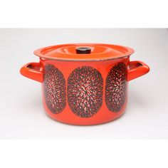Red tree enamel pot by Esteri Tomula for Finel