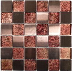 """Moso Mosaics  Stainless Steel Series, 2"""" x 2"""", Amber, Glossy, Bronze/Copper, Glass and Metal"""