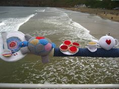 Yarn bombing fabulousness along the pier at Saltburn-by-the-Sea. This year's theme celebrates 150 years of Alice on Wonderland - it was glorious to see it newly in situ last week x   Attic24