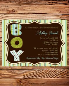 Ornate Frame Baby Boy Shower Invite, Stripes Baby Boy Shower Invite, Digital Printable file, Beautiful Green and Brown. $18.00, via Etsy.