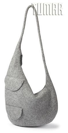 Bag. Felt - 100% wool. Handmade, solid-rolled. Technique - resist felting. Color: grey mélange. Catalogue: Going Wild, 2016. Tumar Art Group.