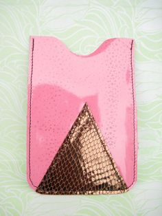 SALE Pink / Bronze / Gold Snake phone case leather by maycily, $10.00