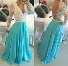 Cheap formal gowns, Buy Quality evening formal gown directly from China evening formal Suppliers: Vestidos de baile 2016 New Chiffon Sheer Evening Formal Gowns Beaded Long Sleeve Prom Dresses Prom Dresses 2016, Backless Prom Dresses, Prom Dresses Blue, Prom Gowns, Dress Prom, Formal Gowns, Pageant Dresses, Dresses Dresses, Dress Wedding