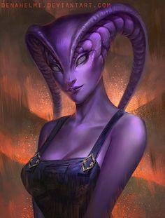 Deyedranian———— By Denahelmi on Deviant Art. Alien Creatures, Mythical Creatures, Alien Character, Character Art, Fantasy Kunst, Fantasy Art, Arte Alien, Alien Girl, Alien Concept Art