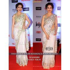 Bollywood Replica White and Gold Nylon Net Madhuri Dixit Saree