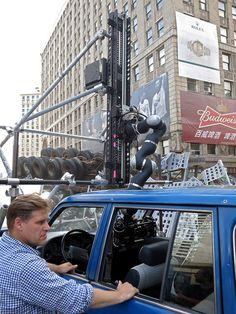 On set of in Detroit, cmocos going down through sunroof into the car during stunt action. Transformers 4, Stunts, On Set, Detroit, Street View, Action, Age, Group Action
