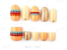 nail art design for short nails, orange and gold, #shortnail #nailart #toenail