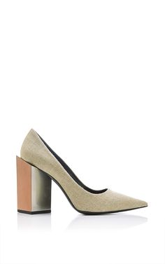 Monolite Natural Linen Pumps by Pierre Hardy Now Available on Moda Operandi