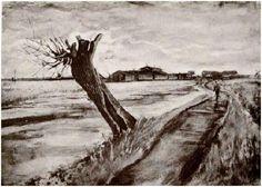 Pollard Willow-Vincent van Gogh Watercolor, Watercolour The Hague: 27-Jul, 1882 Private collection