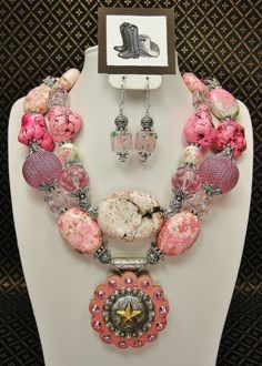 PINK COWGIRL NECKLACE Statement Chunky by CayaCowgirlCreations, $58.50